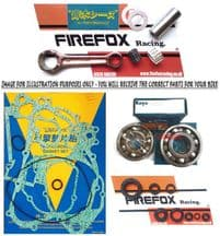 Aprilia RS125 (All) Mitaka Engine Rebuild Kit Rod Gaskets Full Bearing/Seal kit
